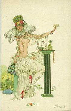 A splendid early 1900's artist postcard. The artist was Umberto Brunelleschi.