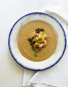 White Cherry Gazpacho with Rock Shrimp and Thai Basil