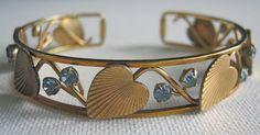 Krementz Bracelet Gold Leaves Blue Rhinestones Cuff