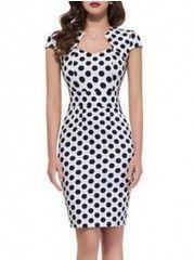 Sexy Polka Dot With Zips Bodycon-dress