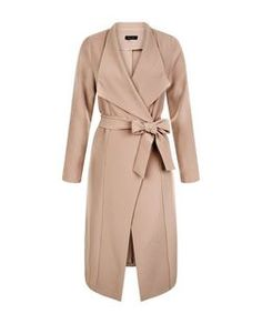 Camel Waterfall Tie Waist Split Side Jacket  | New Look