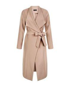 Camel Waterfall Tie Waist Split Side Jacket  | New Look