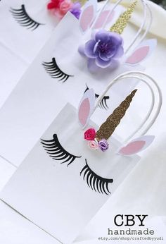 Lovely, Lashy Unicorn Gift Bags