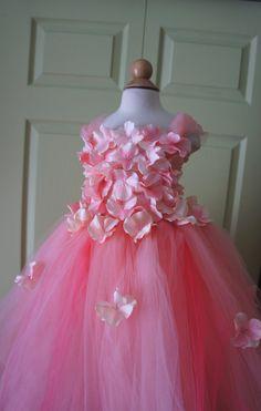 Flower Girl Dress Tutu Dress Photo Prop Peach Pink by FashionTouch, $130.00