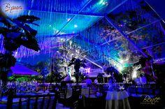 Toldo transparente decorado con cristales, por Bsquare Rentals El Salvador