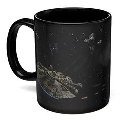 This Star Wars Battle Scene Heat Change Mug is awesome. It lets you experience an epic space battle while you sip your drink.  Just put some hot liquid in and the ships start fighting.    Star Wars Battle Scene Heat Change Mug  Officially-licensed Star Wars merchandise A ThinkGeek cre
