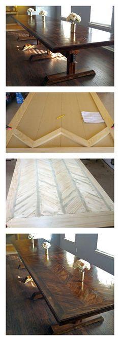 Ana White | Pedestal Herringbone Table Top - DIY Projects