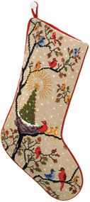 "Dehn Birds Needlepoint Stocking taken from Adolf Dehn watercolor  cotton, wool and velvet 20""long"