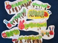 The Very Hungry Caterpillar art use thumb prints or tissue paper.