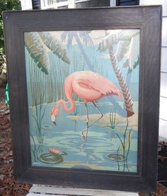 Vintage Pink Flamingo Paint by Numbers Framed Painting | eBay