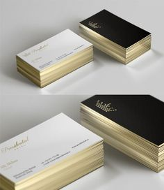 Sleek Black And White Gold Edged Business Card For A Luxury Hotel                                                                                                                                                                                 More