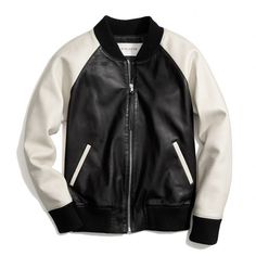 Coach Leather Varsity Jacket ($1,098) ❤ liked on Polyvore featuring outerwear, jackets, coats & jackets, tops, varsity jacket, genuine leather jackets, color block jacket, tailored jacket and teddy jacket