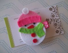 Snowman Felt Hair Clip-White Felt Snowman Hair Clip with Pink, Red and Green Details-No Slip Grip-FREE SHIPPING on 25 Dollar Orders!!