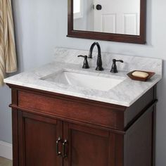 Pegasus 37 in. W Marble Vanity Top in Carrara with Trough Sink and 8 in. Faucet Spread-27108 - The Home Depot