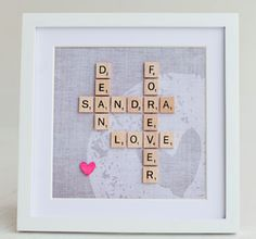 Personalized gift ideas -- Scrabble Wedding gift - Framed