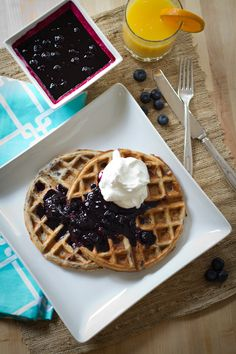 Whole-Wheat Buttermilk Blueberry Waffles Recipe