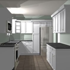 How to plan and prepare for a kitchen renovation; working with a designer to create a new layout. Plywood Plank Flooring, Vinyl Flooring, New Kitchen, Kitchen Decor, Kitchen Design, Glass Display Shelves, Stock Cabinets, Privacy Walls, Cabinet Styles