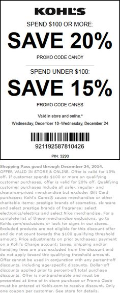 Pinned December 19th: 15-20% off at Kohls, or online via promo code #CANES #coupon via The #Coupons App