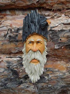 Wood Spirit Wizard Hobbit Troll Knot Faux Head Scott Longpre ORIGINAL Carving #ScottLongpre