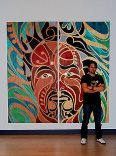 I like how the composition is split over 2 halves - could be a central circle. Change each half somehow. A final composition idea. Art Maori, Maori Symbols, Maori Patterns, Maori Designs, New Zealand Art, Nz Art, Madhubani Art, Indigenous Art, Artist Art