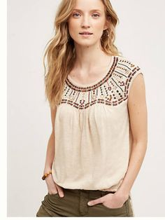 I love the detailed yoke on this piece!  Great summer top in spite of being sleeveless and pale!