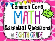 8th Grade Math Essential Questions Giraffe Print *Common Common Core Aligned*