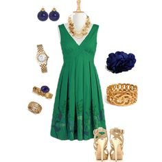 Gold and green, created by sofroca on Polyvore