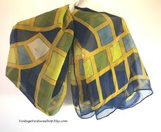 Oh-So-Retro! Silk scarf has the sixties color scheme with harvest gold and avocado green - looks like stained glass. To buy click image #VintageVenturesShop #Etsy #Vintage #VintageFashion #RetroClothes #SilkScarves #Sixties #1960s #Retro