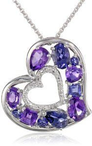 """Sterling Silver, Amethyst, and Iolite Diamond-Accented Heart Pendant Necklace, 18"""" Available at joyfulcrown.com"""