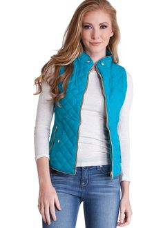 Quilted Padded Zipper Vest J1409T, clothing, clothes, womens clothing, jeans, tops, womens dress