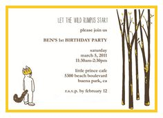 Where the wild things are party invites! So cute!