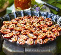 Use as many or as few tomatoes as you like, roast for a couple of hours then pack into jars with herbs and olive oil.