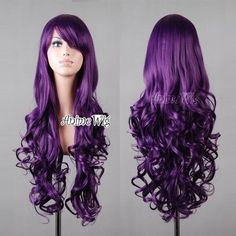 New Lolita Women Long Curly Dark Purple Cosplay Anime Hair Full Wigs +Wig Cap Cosplay Costume, Cosplay Anime, Costume Wigs, Cosplay Wigs, Cheap Cosplay, Buy Cosplay, Dark Purple Hair, Purple Wig, Long Black Hair