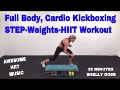 Cardio kickboxing Workout, HIIT Workout, Step Workout with Dumbbells, Full Body - YouTube