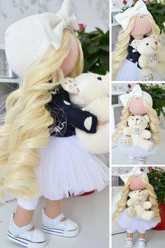 Fabric doll Interior doll Handmade doll Tilda doll Art doll blonde white color soft doll Cloth doll Love doll by Master Tanya Evteeva