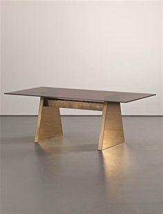 Nando Vigo; Brass and 'Ambra' Glass Dining Table for F.LLI Conconi, c1975.