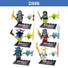 D866 Florescent Light Thunder Swordsman Ninja Building Blocks ZANE WU GREEN NINA Minifigures Action Figures legoeddis Toys