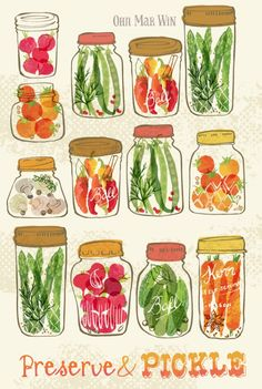 Ohn Mar Win Illustration - Delightful array of vegetables pickled in vintage jars – food illustration. Vegetable Illustration, Art And Illustration, Food Illustrations, Watercolor Illustration, Food Design, Web Design, Vegetable Drawing, Jar Art, Vintage Jars