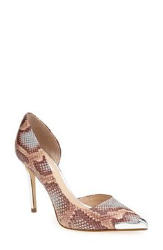 "GUESS 'Beilan' Pointy Toe Half d'Orsay Pump (Women) | Nordstrom - An elegant half d'Orsay pump is made even more striking with metallic accents at the toe and heel.  4"" heel (size 8.5). Leather or synthetic upper/synthetic lining and sole. By GUESS; imported."