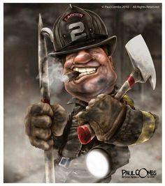 Illustration and Cartoons by Paul Combs Firefighter Paramedic, Volunteer Firefighter, Smokey Joe, Wildland Fire, Fire Image, Fire Art, Fire Department, Fire Trucks, Cartoons