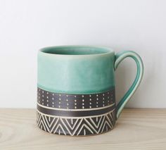 Blank White Coffee Mug Half Band Mug Jessica Wertz Ceramics Royal Doulton Coffee Mug Ceramic Mugs, Ceramic Pottery, Ceramic Art, Pottery Mugs, Painted Pottery, Pottery Art, My Coffee, Coffee Shop, Coffee Cups