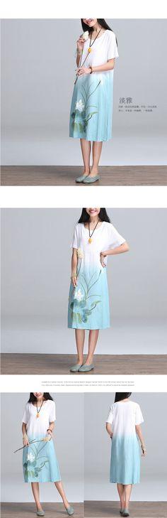 2016 verão New style Arts mulheres soltas Casual vestido longo gradiente cópia do Vintage cotton linen Maxi vestido Plus Size Top qualidade E6 em Vestidos de Moda e Acessórios no AliExpress.com | Alibaba Group