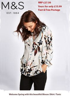 b2692be25b6fd3 New M&S ladies Marks & Spencer grey Floral BLACK PINK blouse Shirt TUNIC  TOP 14   eBay
