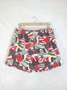 mens swimsuit size xl. mens swim shorts. 80s swimsuit mens xl. nautical shorts. crew flag swim trunks. 1980s rowing by LondonVtg on Etsy