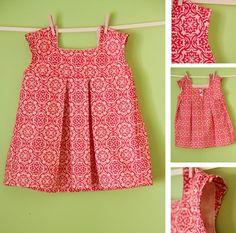 Kare yakalı kolay kız çocuk elbise dikimi modeli - Kadınlar