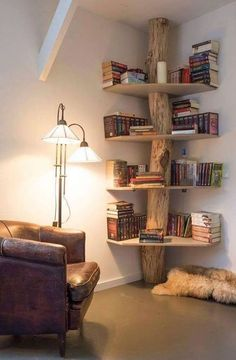 5 Amazing Tricks: Natural Home Decor Interior Design natural home decor living room inspiration.Natural Home Decor Diy Air Freshener natural home decor diy air freshener.Natural Home Decor Living Room Window. Tree Bookshelf, Rustic Bookshelf, Tree Shelf, Bookshelf Design, Bookshelf Ideas, Creative Bookshelves, Shelving Ideas, Bookshelf Decorating, Simple Bookshelf