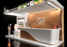 Jacobs exhibition stand on Behance Modern Reception Desk, Reception Desk Design, Reception Furniture, Office Reception, Office Table Design, Modern Office Design, Modern Offices, Exhibition Stand Design, Layout