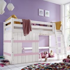 Hütten-Hochbett Kids Paradise für Mädchen inklusive Lattenrost