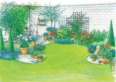 Gartenhof in neuem Look - Garten Design Beautiful Gardens, Beautiful Flowers, Nook, Art Tips, Patio Design, Halloween, Simple Designs, Perennials, Backyard