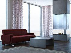 W aranżacji wykorzystano stolik kawowy w kolorze antracytowym. Wykonany w całości z betonu architektonicznego o średniej porowatości. Concrete, Curtains, Furniture, Home Decor, Interiors, Blinds, Decoration Home, Room Decor, Home Furnishings